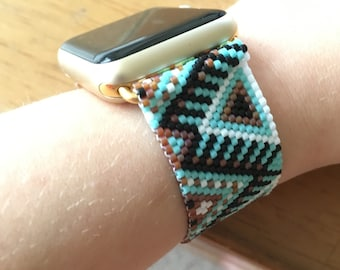 Unique Turquoise Pattern Apple Watch Beaded Band