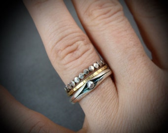 princess and the pea .. sterling silver stack ring