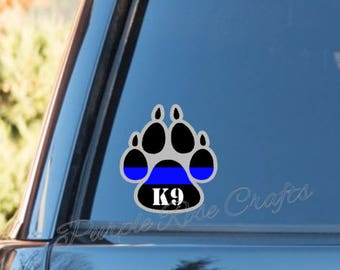 K9 dog LEO Deputy Police thin blue line Decal  - Window - Car - Cup - Laptop - Tumbler - Tablet - Sticker - Cling