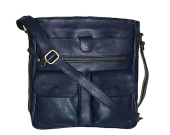 Navy Blue Leather Bag, Cross-body Purse, Handbag, Iris