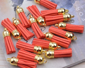 """1.5"""" mini tassels, wholesale tassel, tassles, leather tassle, tassels for jewelry, tassel wholesale, 50 Torrid Orange suede leather tassels"""