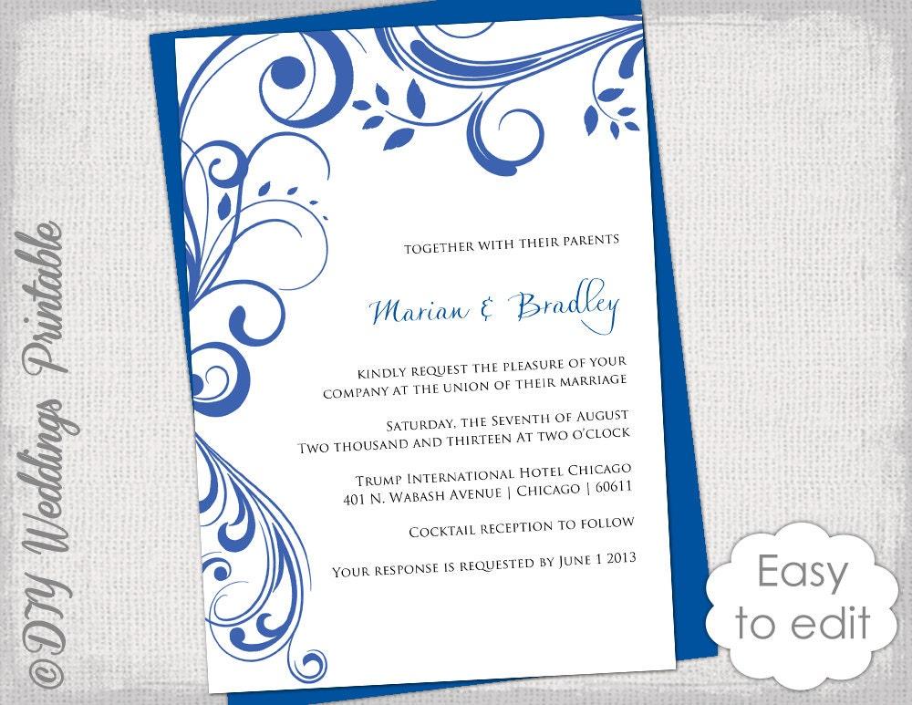 Wedding Invite Templates Uk: Blue Wedding Invitation Templates Scroll