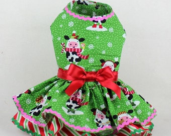 Dog Dress, Dog Harness Dress, Christmas Dress for Dogs, Holiday Dress, Handmade, Ruffle, Christmas Outfit for Small Dog, Dog Fashion, Cow