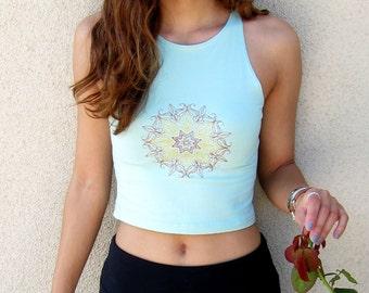 Mandala Crop Top-Boho Crop Top-Yoga Crop Top-Embroidered Yoga Crop Top