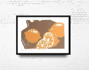 "Oranges Linocut Print, 5x7"" Print Orange and Brown, Hand Pulled Print, Small Original Artwork, Citrus Kitchen Art, Ready to Ship"