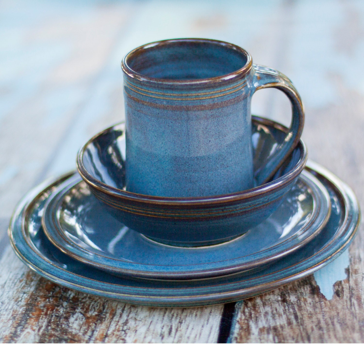 🔎zoom & Blue Ceramic Dinnerware Set 4 piece Hand made Hand crafted