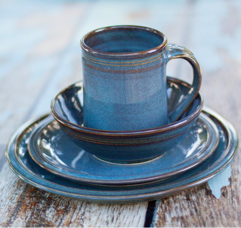 🔎zoom & Blue Ceramic Dinnerware Set 4 piece Hand made Hand crafted