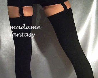 Black Ribbed Spandex Stockings