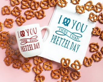 I Love You More Than Pretzel Day Towel - The Office Pretzel Day - Funny Kitchen Towel - Mothers Day Gift - Choose Your Own Font Color
