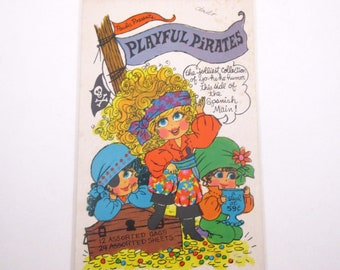 Paula Presents Playful Pirates Vintage 1960s Stationery Paper with Cute Pirate Girls on Original Pad by Paula