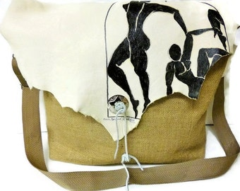 Bags, Messenger, Coffee,Burlap, White, Leather, Crossbody, Matisse Inspired, Painting, Upcycled, Gift For Her, Handmade
