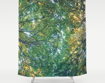 shower curtain, bathroom decor, modern shower curtain, photo curtain, woodland curtain, nature forest tree branches leaves green yellow