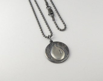 Magic:The Gathering Inspired  Pendant In Sterling Silver - Blue Mana