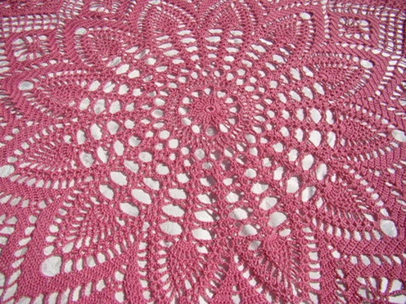 Hand crochet pineapple and diamond inspired cotton tablecloth - READY TO SHIP