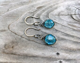 Light turquoise blue crystal earrings handmade wire-wrapped sterling silver petite French hooks ready to ship gift under 50