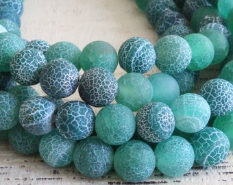 8mm Round Gemstone Beads For Jewelry Making - Matte Stone Cracked Agate Beads - Mala Bead Supplies - Teal -  16 Inches