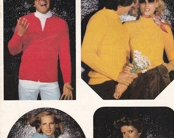 ON SALE Patons Knitting Jasmin  - Vintage 1970s Men and Women Knitting Pattern No 455