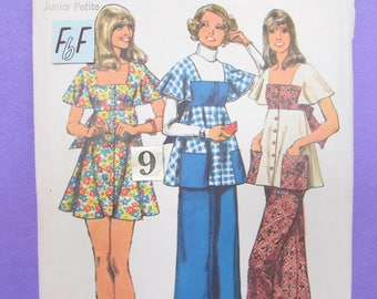 1970's Empire Waist Mini Dress Sewing Pattern/ Vintage Simplicity 5691 Mod, Square Neckline, Back Tied Tunic Top, Palazzo Pants/ Size 9 10