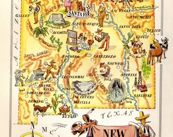 1940's Pictorial NEW MEXICO Map State Map of New Mexico Print  Gallery Wall Art Cartoon Map Collector Gift for Traveler Birthday Wedding