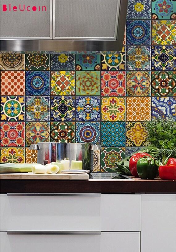 Bleucoin No 21 Mexican Talavera Tile Wall Stair Floor Vinyl