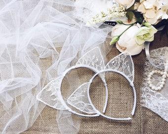 Cat ears Lace Veil, White cat ears, Cat Ears, Ears Headband, Bridesmaid tiara, Ears with veil, Bachelorette tiara, Lace veil, Cat Costume