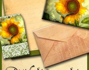 Sunflower Stationary Set Digital Download including Greeting Card, Vintage Envelope, Stationary Sheet and Tag No. 50
