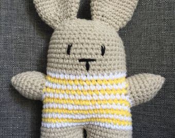 Bunny rabbit rattle toy - yellow