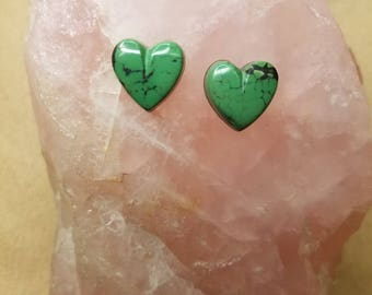 Green Concho Springs Turquoise Heart Cabochon Pair/ backed