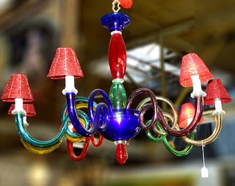 Vintage Murano Glass Octopus Multi-Colored Chandelier
