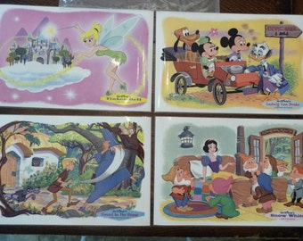 1965 Disney Plastic Place Mats from RCA FOUR Mat Set *SEALED* Victor Dealers Tinker Bell*Ludwig Mickey Minnie*Snow White*Sword in the Stone