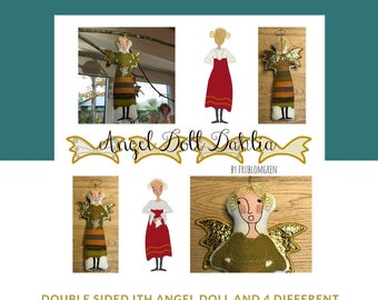 ITH Angel Doll DAHLIA, Big Hoop Machine Embroidery Design for a large Double-sided Angel Doll + 4 pair of Wings, Approx. 27 cm tall