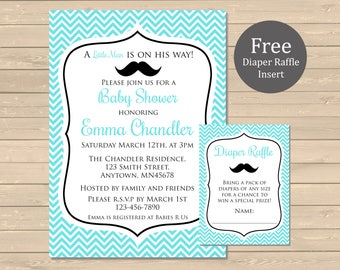 Little Man Mustache Baby Shower Printable Invitation & Diaper Insert, Little Man Baby Shower Invite and Diaper Raffle Card, Download, 008-A
