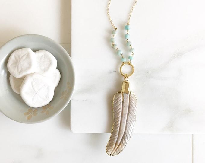 Long Leaf Necklace. Long Ivory Stone Leaf Layering Necklace. Long Stone Feather Necklace. Beaded Necklace. Jewelry. Boho Jewelry. Gift.
