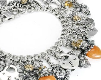 Bee Jewelry, Honey Bee, Personalized Bee Bracelet, Bumble Bee Jewelry, Heart Bracelet