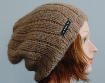Natural RIAF Soft Warm Hand Crafted Alpaca Slouchy Beanie Hat, Warm Light Brown