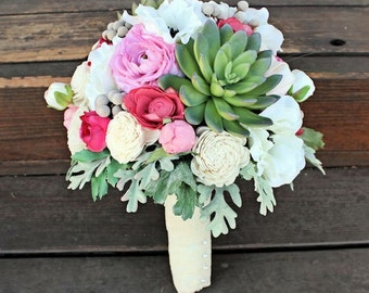 Keepsake Bridal Bouquet - Succulents, Ranunculus, Peony, Anemone, Sola Flowers, Silk Flowers, Dusty Miller, Rustic Wedding