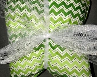 Heating Pad: Green & White Chevron Print