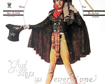 Tiny Tim - 1976 Norman Rockwell Print - Saturday Evening Post Cover Reproduction - 14 x 10