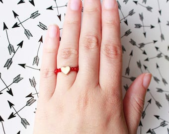 Heart Bead Ring, Stretchable Ring, Crystal Beads, Heart Charm, Rings, Love Ring, Red and Gold Ring