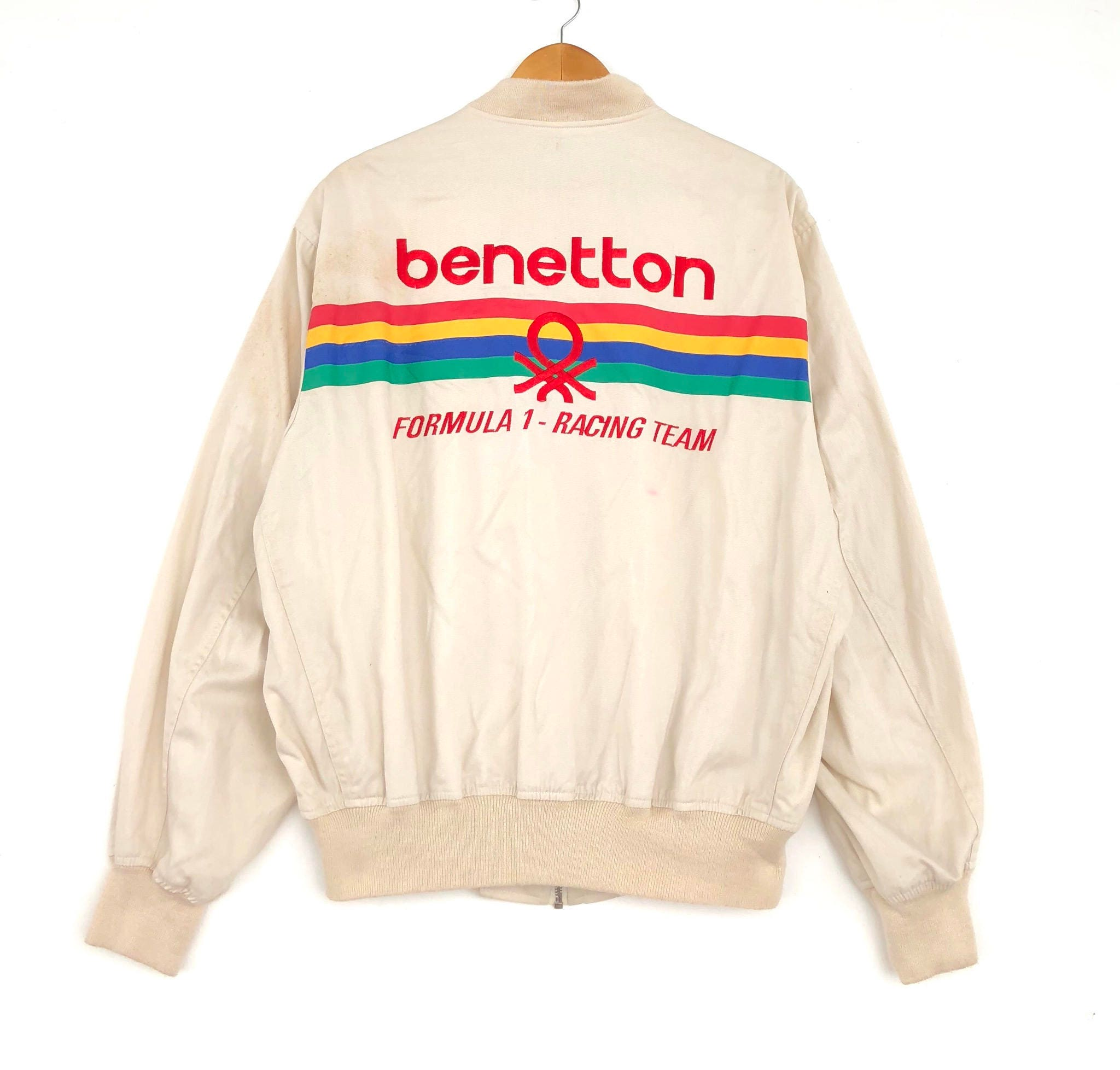 RARE!!! Benetton Formula 1 Racing Team Big Logo White Colour Crew Neck  Sweatshirts 6b6ed8241e07