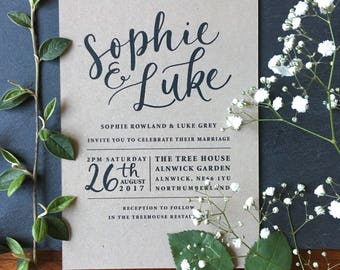 Calligraphy Wedding Invitation Kraft & Black Sample