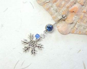 Snowflake Belly Button Ring, Belly Button Jewelry, Dangle Belly Ring, Holiday Christmas Belly Ring, Winter Snowflake Jewelry