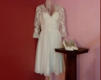 Size 10 Short White Wedding Dress Illusion Shoulders and Sleeves Strapless