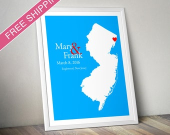New jersey art etsy custom wedding gift personalized wedding location and state map print new jersey engagement negle Images