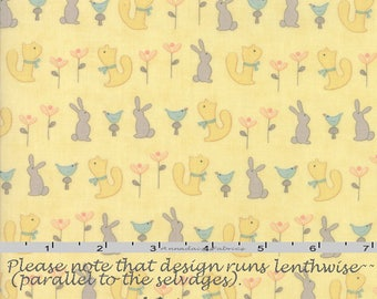 Yellow Baby Animal Fabric, Animal Quilt Fabric, Moda Corner of 5th & Fun 17902 14 Sandy Gervais, Yellow Baby Quilt Fabric, Bunnies, Cotton