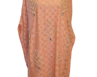 SALE: Peach Poncho, Banarsi Chiffon with Embroidery, M/L with Silk Inner and Pants 3-Pc