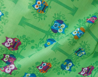 SALE Owl Fabric, Quilting Fabric, Owl Pattern, Owl Fabric by the Yard