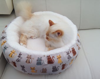 Luxury deep donut style  snuggle soft cat bed small dog bed custom made UK