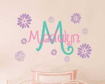 Flower Wall Decal | Flower Wall Art | Flower Wall Sticker | Flower Name Decal | Floral Wall Decal | Girls Room Decals | Girls Nursery Decals