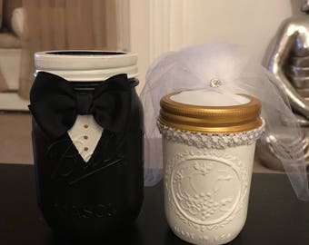 Bride and Groom Handpainted Mason Jars